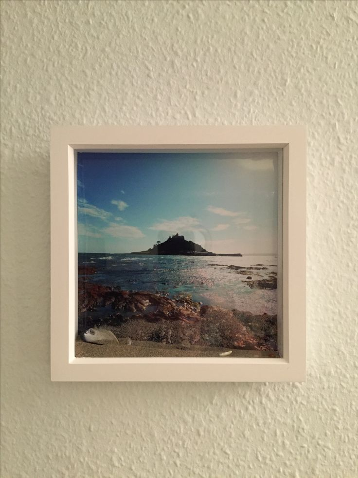 St Michael's mount, Marazion, Cornwall. Display box photograph with sand and shells