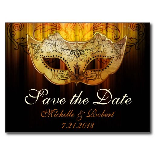 Fancy Flourish Gold Masquerade Wedding Save the Da Post Card