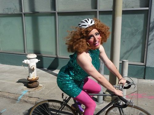 well obviously the drag queen on the bicycle works well