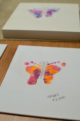 Butterfly prints with babys feet