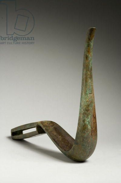 Strigil (bronze). Roman, (3rd century AD). used to scrape skin after a bath or athletics; scraped dirt and sweat off skin;