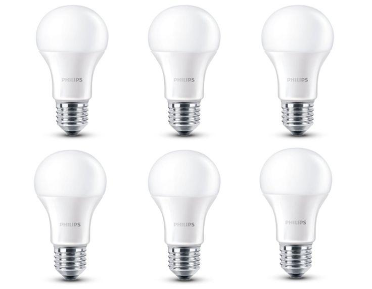 ¡Chollo! Pack de 6 bombillas LED Philips de bajo consumo por sólo 17,90 euros. 2,9 euros por bombilla. 46% de descuento.