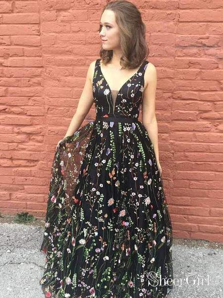 058f280e9ff V Neck Black Floral Lace Long Prom Dresses Embroidered Prom Dress  ARD1948-SheerGirl