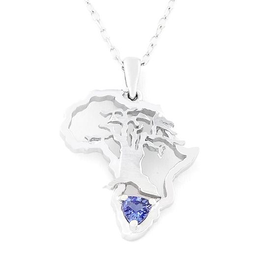 18 CARAT WHITE GOLD AFRICA WITH TREE MOTIF AND TANZANITE #UweKoetter Africa love ♥ Proudly South African