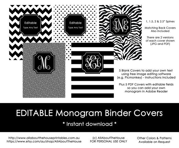 Dress up your folders with these 5 black EDITABLE binder covers! You will be able to type your own monogram into the editable PDFs and add your own text using image editing software such as PicMonkey - instructions are included. Files will be available for INSTANT DOWNLOAD after payment is processed.  These printable binder covers come in the following patterns as shown: - Chevron - Small polka dots - Large horizontal stripes - Diagonal Greek Key - Zebra  Once purchased you can print the…