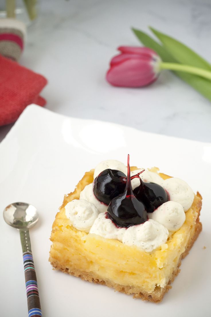Cheesecake with salty crust and cherries