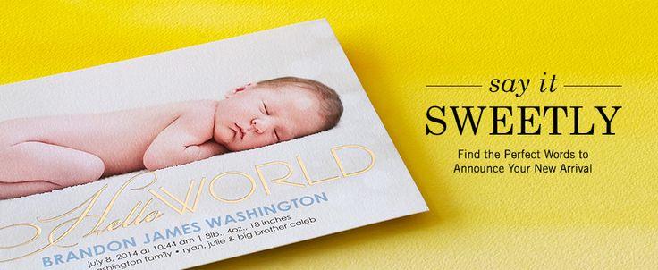 birth announcements sample wording