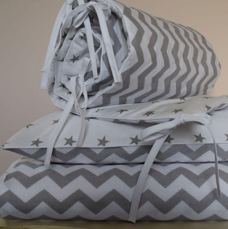 100%COTTON Cot Bed Duvet Cover Set & Bumper  Stars Chevron Zig Boy Girl  simply