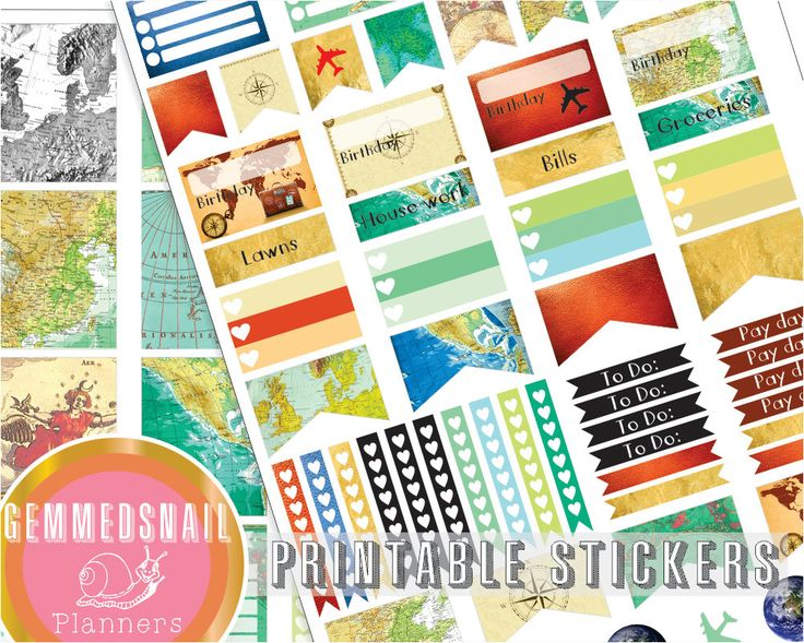 Travel planner stickers, printable planner stickers featuring vintage world maps, fits Erin Condren vertical weekly