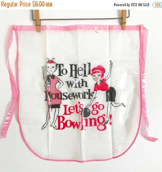 SALE 20% OFF ETSY-Versary Vintage Half Apron Housewife Bowling Prize Gag Gift Novelty Plastic Apron