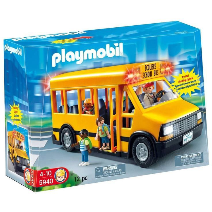 Children can use the bus to transport Playmobil figures from school to home.