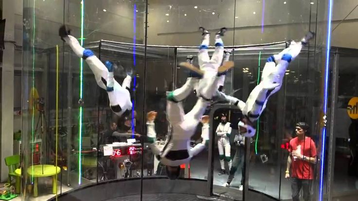 Wind Tunnel Flying : Skydiving Windtunnel Synchronized demonstration in Hurricane Factory Prague !