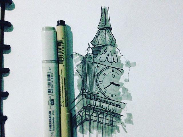 Makkah Clock Tower  #architecture #archistudent #sketch #finecolours #depanrumahstudio