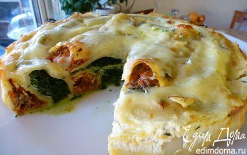 Пирог из каннеллони с мясом и шпинатом | Кулинарные рецепты от «Едим дома!»