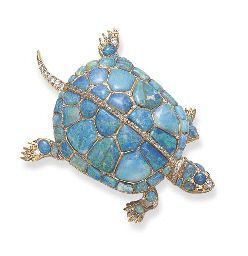 A RARE ANTIQUE OPAL, DIAMOND AND RUBY TURTLE BROOCH  c.1870  i love turtles  ditto