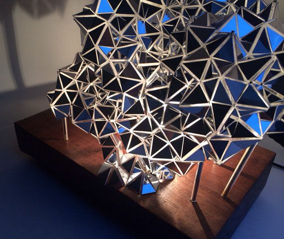 Mirrored Geodesic/Wood Table Lamp Sculpture by BrittaGould on Etsy