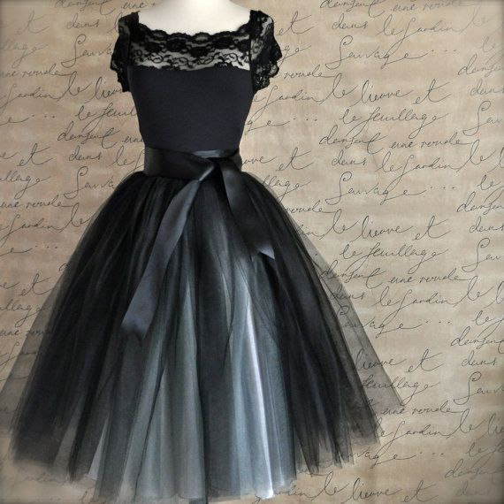 Black and silver tulle tutu skirt for womenA by TutusChicBoutique, $185.00