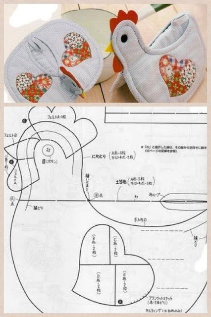 ARTE COM QUIANE - Paps,Moldes,E.V.A,Feltro,Costuras,Fofuchas 3D: Molde pegador de panela em forma de galinha