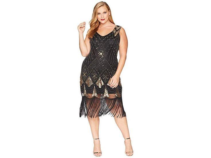 Unique Vintage Plus Size Sequin Lina Fringe Flapper Dress (Black/Gold) Women s Dress. Lindy hop or do the Charleston in this Unique Vintage Plus Size ...