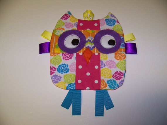 Owl Taggie toy that crinkles Handmade Infant Toy by civilwarlady, $19.95