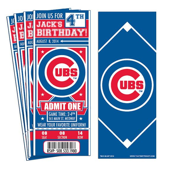 12 Chicago Cubs Custom Birthday Party Ticket Invitations – Officially Licensed by MLB