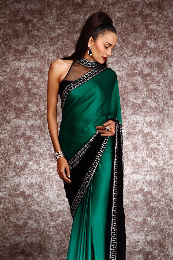 Swarovski Embroidery Half and Half Satin Saree