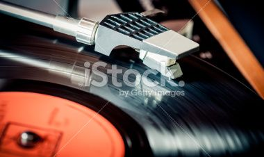 Turntable head on a LP Royalty Free Stock Photo