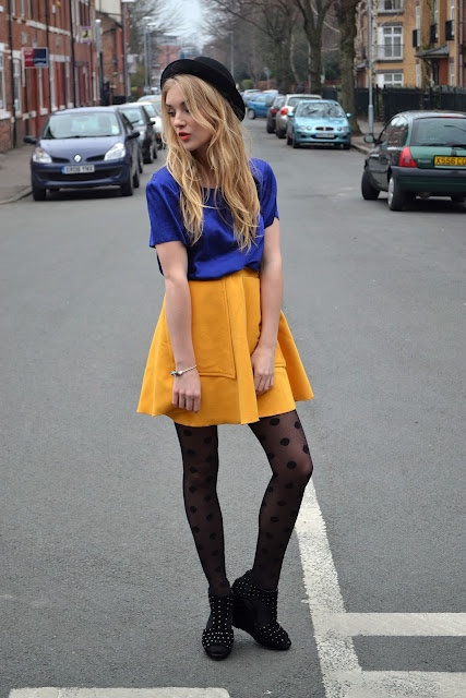 Yellow dress grey tights black
