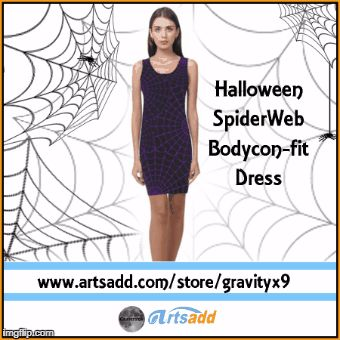 Halloween Spiderweb Dresses are available in several color options and sizes (Bodycon fit) at Artsadd by #Gravityx9 Designs  ! Add accessories to create your  sexy  Halloween Costume! Spiderweb design is also on other style of dresses and leggings, too! #HalloweenCostume #HalloweenDress #HalloweenFashion