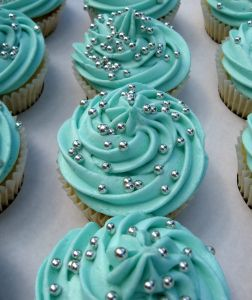 My cupcakes! Turquoise & Silver Wedding Cupcakes and have some that are peach with silver.
