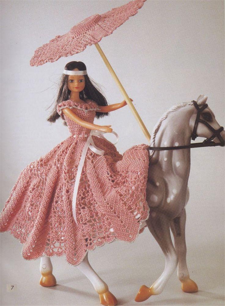 Barbie Crochet Miniaturas Artesanato e Coisas Mais de Tudo Um Pouco e Muito Mais: Vestido e Sombrinha Aberta de Crochê Para Barbie Com Gráfico - Squaw - 1000 Mailles Robes Précieuses