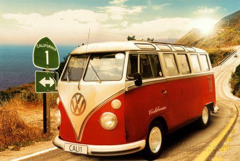 VW Bulli California Camper Poster