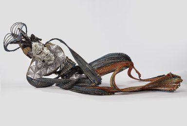 Adejoke Tugbiyele (born 1977). Homeless Hungry Homo, 2014. Palm stems, steel, wire, metal, wood, US dollar bills, 29 15/16 x 59 13/16 x 23 5/8 in. (76 x 152 x 60 cm). Brooklyn Museum, Frank L. Babbott Fund, 2015.42. © Adejoke Tugbiyele