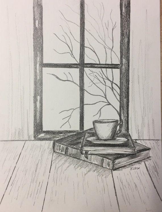 Pencil drawing print, Graphite art, Original Pencil sketch, wall decor living room rustic,still life drawing, coffee and books art