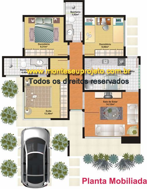 Planta dois quartos 80m projetos pinterest quartos for Casas modernas de 80 metros