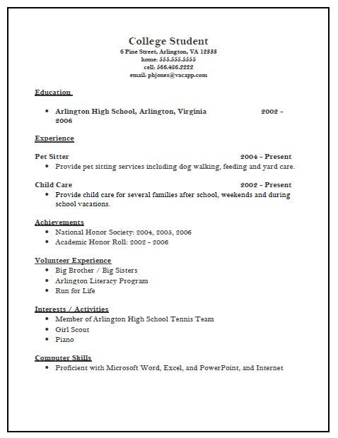Sample Academic Resume For College Application