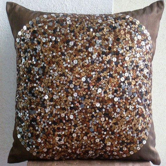 Brown Eye Sparkle  Euro Sham Covers  26x26 by TheHomeCentric
