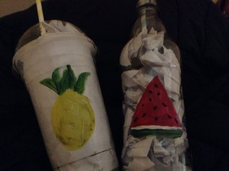 These r my AWESOME recycled bottles that I painted. I pained a pineapple and a watermelon. I ❤️ how these turned out!