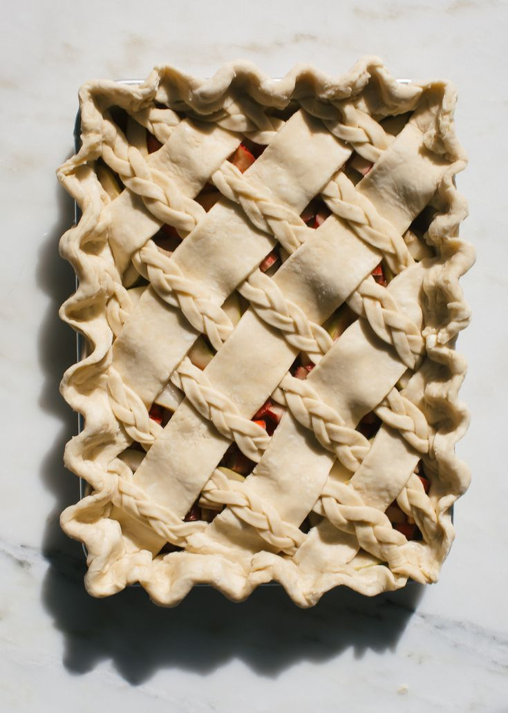 Rhubarb Pear Slab Pie