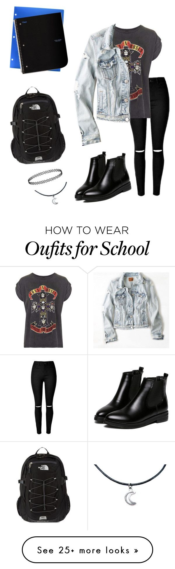 """4 - Day at School"" by alilrose on Polyvore featuring Topshop, American Eagle Outfitters, WithChic and The North Face"