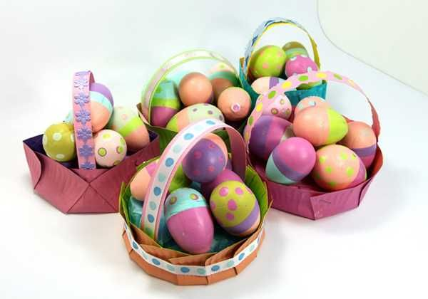 round easter baskets recycling paper