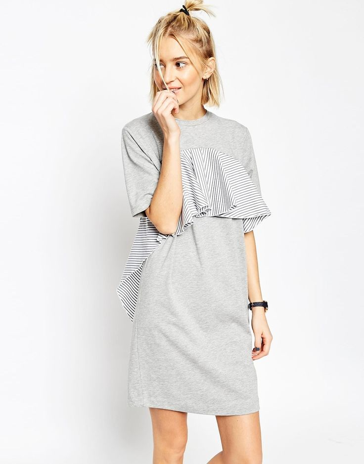 Image 1 of ASOS WHITE T-Shirt Dress with Stripe Frill Detail
