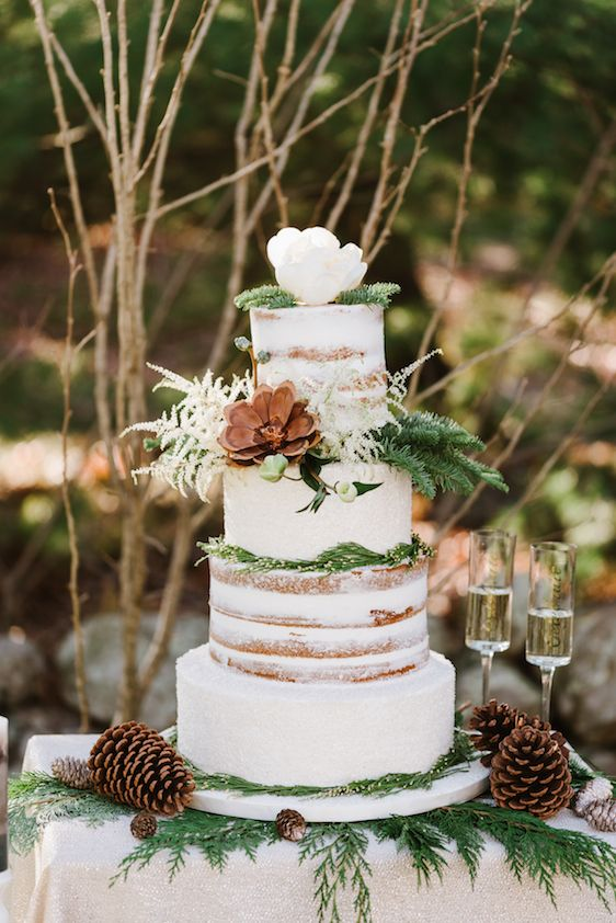 Winter wedding cake with naked tiers, pinecones and neutrals, by Sweet Indulgence.