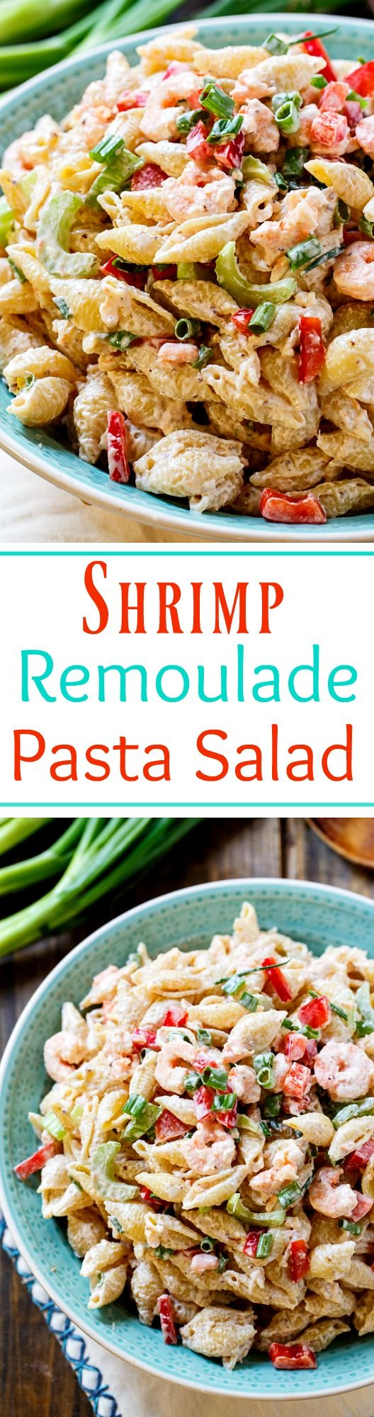Shrimp Remoulade Pasta Salad has a classic New Orleans Remoulade dressing and lots of baby shrimp mixed in. Chopped celery and red bell pepper give the pasta salad a little crunch and horseradish and Tabasco sauce give it some bite.