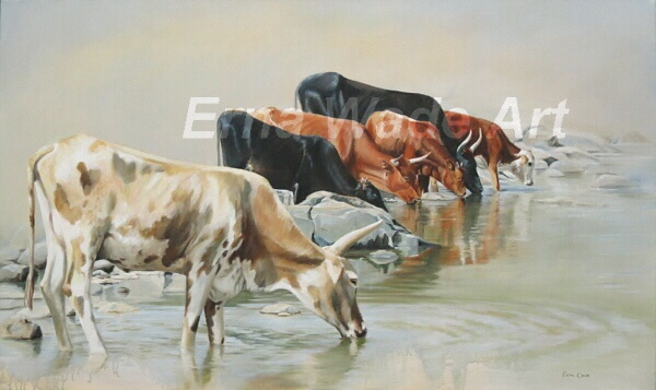 """African Nguni cattle drinking at the Tugela River. Original Oil on stretched canvas.1500 x 900mm (59""""x35""""). $1400.00   Contact ErnaWadeArt on Facebook. Please like and repin  #art #Nguni #painting"""