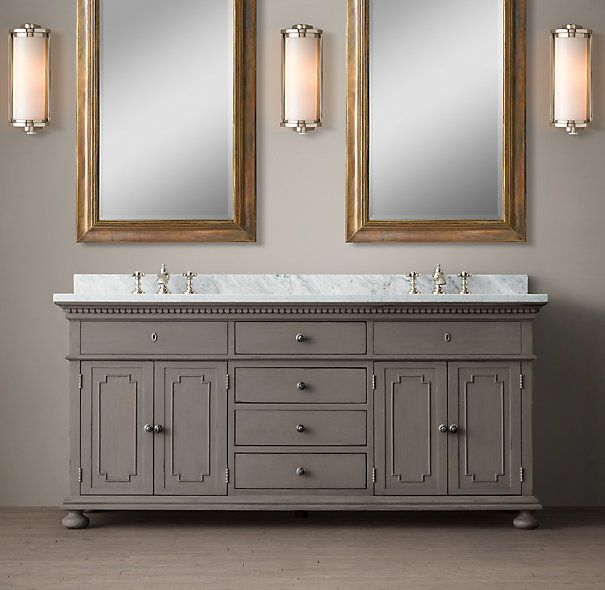 St james double vanity sink in antique graphite 72 w for Restoration hardware bathroom cabinets