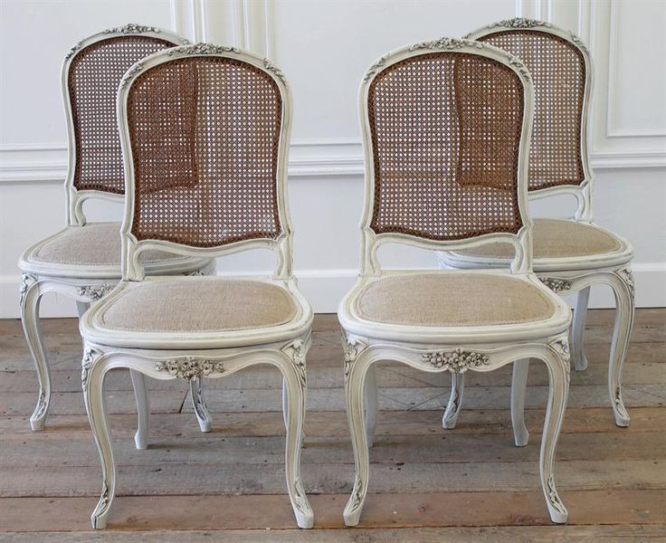 Set of 4 Antique French Cane Back Dining Chairs from Full Bloom Cottage