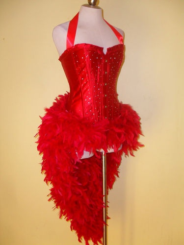 BURLESQUE RHINESTONE DRAG QUEEN SEXY SHOWGIRL CORSET FEATHER DANCE COSTUME DRESS