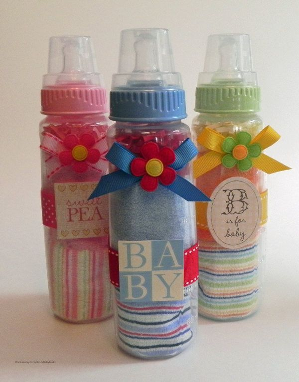Washcloth Baby Bottle - Unique Baby Shower Gifts and Favors infant washcloth girl boy neutral. $12.50, via Etsy.