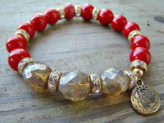 Stretch Bracelet, Red Jade, Milky Topaz Czech Glass Beads, Gold Plated Round Beads, Gold Charm Bracelet, Stacking Bracelet, Boho Chic by BeJeweledByCandi, $37.00